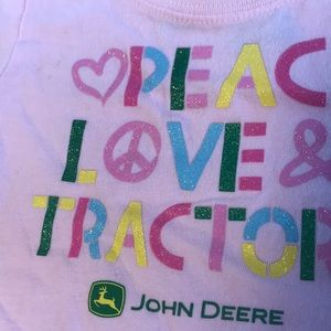 John Deere Shirts & Tops - John Deere Peace Love Tractors Glitter 12 Months